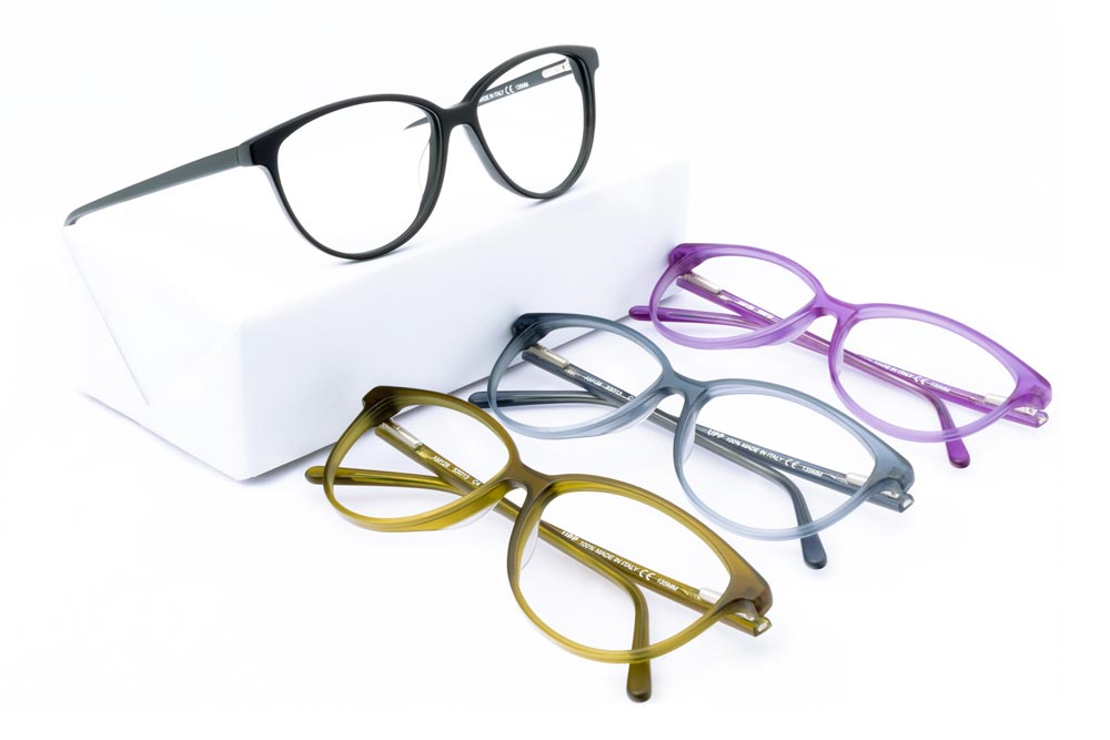 still life eyeglasses on white background